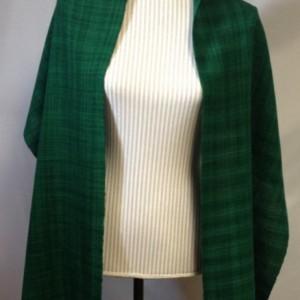 Handwoven Emerald wool shawl