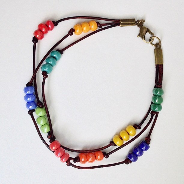 Triple Strand Leather Bracelet, Rainbow Beaded Seedbead Bracelet, Summer Beachwear, Seed Bead Wrist Wrap Cuff Braclet