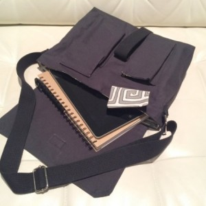 Messenger Bag - Black Canvas with Grey Geometric Lining