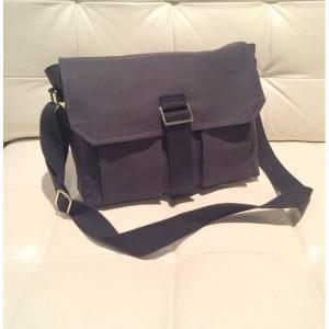Messenger Bag - Black Canvas with Grey Geometric Lining