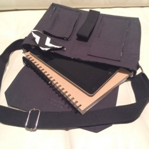 Messenger Bag - Black Canvas with Black & White Chevron Lining