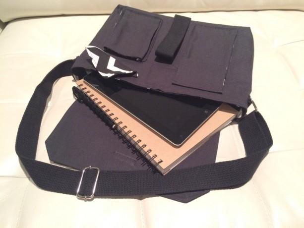 Messenger Bag - Black Canvas with Black & White Chevron Lining
