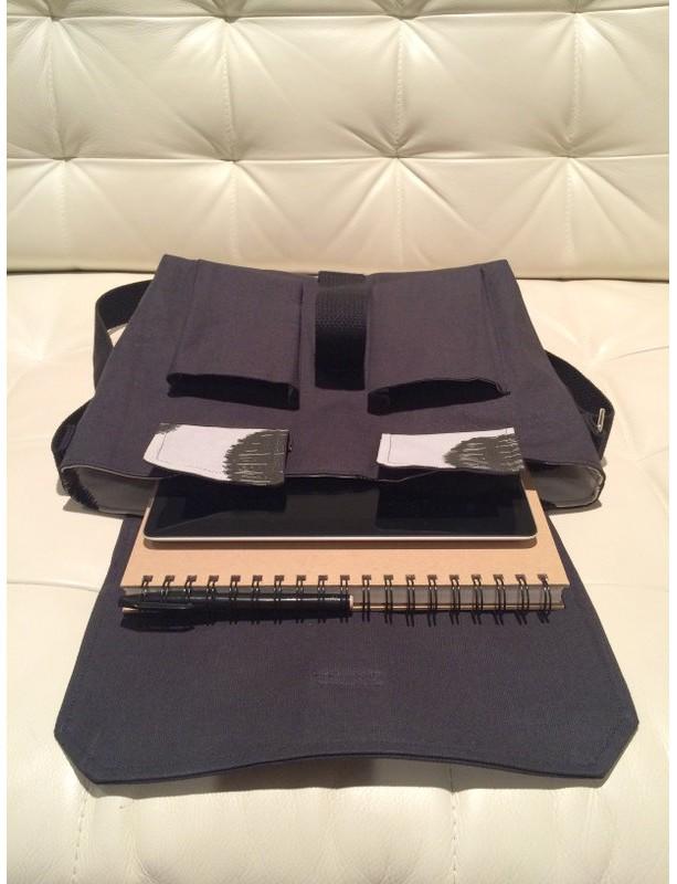 Messenger Bag - Black Canvas with Grey & Black Dots Lining