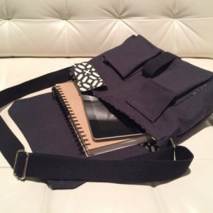 Messenger Bag - Black Canvas with Black & White Geometric Lining