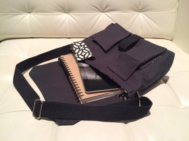 Messenger Bag - Black Canvas with Black & White Geometric Lining