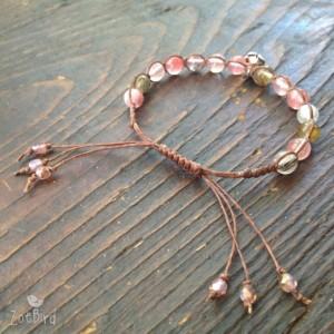Girl's Pink Watermelon Quartz Macrame Bracelet, Child's Bracelet, Little Girl's Gemstone Bracelet, Adjustable Bracelet