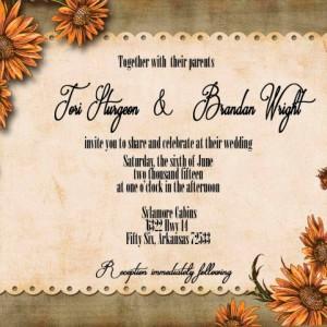 Custom Wildflower Wedding Invitation with RSVP - Country Wedding Invitations - Rustic Wedding Invitations