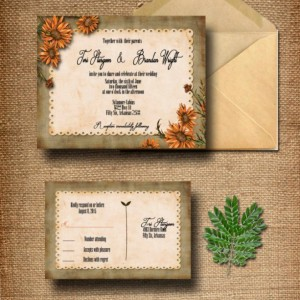 Custom Wildflower Wedding Invitation with RSVP - Country Wedding Invitations - Rustic Wedding Invitations