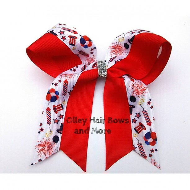 4th of july cheer hair bow 4th of july bow fireworks hair bow
