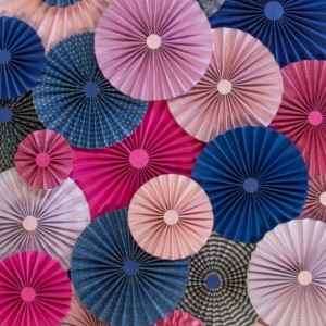 25pc Set of pink fuchsia navy blue Paper Pinwheel's Rosette paper Flower Party Decoration wedding birthday shower pinwheel decour pinwheels