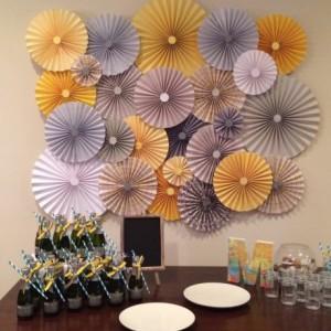 25pc Set of yellow & grey blue Paper Pinwheel's Rosette paper Flower Party Decoration wedding birthday shower pinwheel decour pinwheels