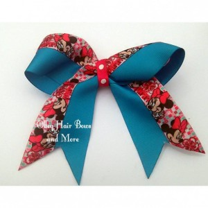 Minnie Cheer Hair Bow - Minnie  Hair Bow - Teal Pink Hair Bow -  Minnie Accessories - Teal Pink  Accessories
