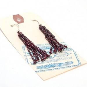Beaded Tassel Earrings // Red and Silver // Stripes // Beadwork // Seed Beads // Handmade Silver Earwires