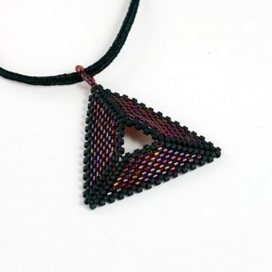 Beaded Triangle Necklace // Red and Black // Seed Beads // Beadwork