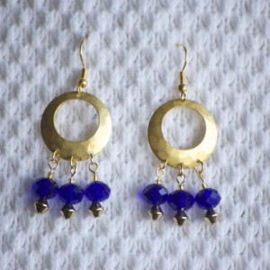 Gold plated Hoop Earrings with Cobalt blue Austrian crystal beads