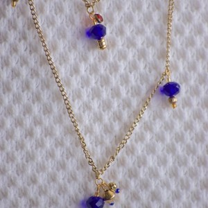 Boho Chic Gold Necklace Chained & Layered with gold and cobalt blue Austrian Crystals