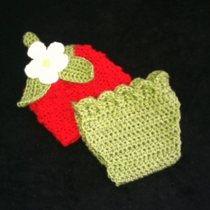 Crochet Newborn Strawberry Hat and Diaper Cover Set