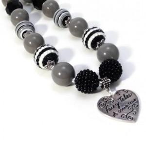 Heart chunky necklace, Gray Black heart pendant, Girls chunky necklace, Fairy necklace, Boutique , Kids chunky necklace, bubblegum necklace