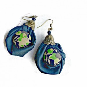 Silk Drop Earring, Dangle Earring, Fabric Earring,  Blue-Black Silk Fabric, Hand crafted Silk Button, Green, Black and Tan,