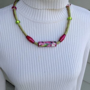 Fabric Jewelry, Fabric Cord Necklace, Recycled Paper Focal Bead, Repurposed Fabric Beads, Green and Pink, Flower Jewelry