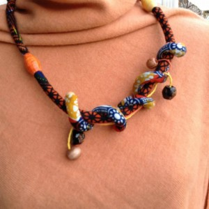 African fabric Cord Necklace - African Jewelry - Recycled Paper Focal Bead - Recycled Paper Accents