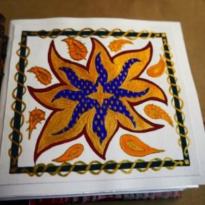 Handmade Coptic Bound Art Blank Book + original art - red, faux, leather, book, sketchbook, art, spells, wicca, lovecraft, journal, handmade