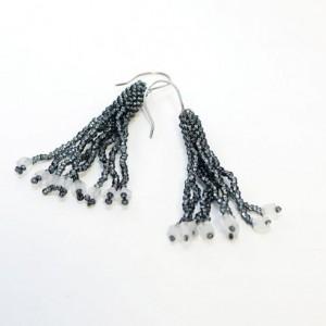 Beaded Tassel Earrings // Dark Silver // Gray // Seed Beads // Cube Beads // Handmade Silver Earwires