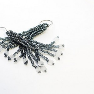 Beaded Tassel Earrings // Dark Silver // Gray // Seed Beads // Cube Beads // Handmade Silver Earwires