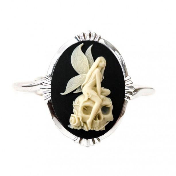 Angel Skull Cameo Cuff Bracelet - Gothic Jewelry
