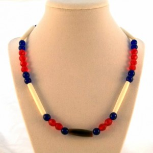 Fire and Ice Bead and Bone/horn Necklace, Red/White/Blue Bead and Bone Necklace, Fire Polish Bead Bone Necklace