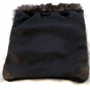 Hand-sewn, Clutch Purse, Black Soft Leather, Rabbit Fur, Handmade, Native American Inspired