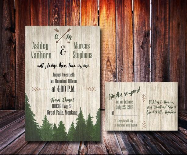 Custom Woodsy Wedding Invitation Forest Wedding Rustic Weddin