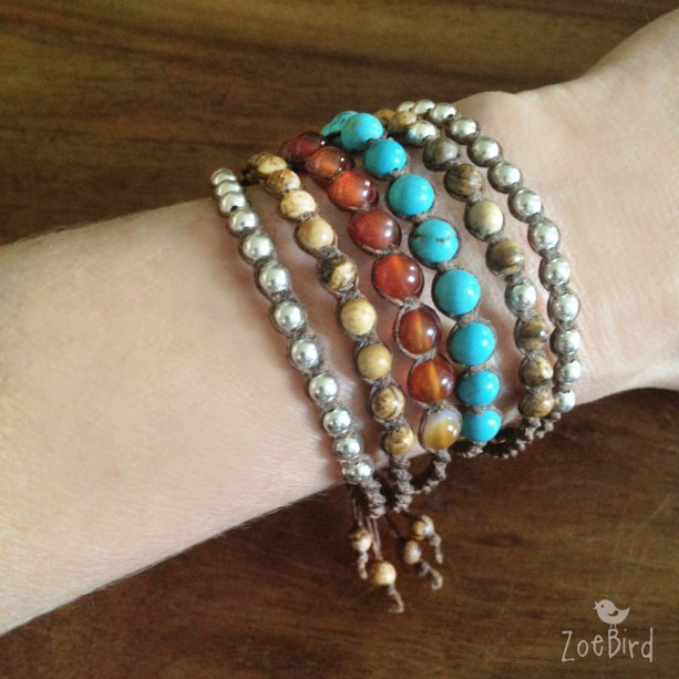 Turquoise, Carnelian Agate, Jasper & Silver Macramé Bracelet Cuff, Six Wrap Bracelet, Boho Chic Cuff, Gemstone Layered Bracelet
