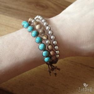 Turquoise, Jasper & Silver Macramé Bracelet, Triple Wrap Bracelet, Boho Chic, Gemstone Layered Bracelet