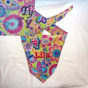 Personalized Retro Flower Power Dog Bandana with Choice of Colored Lettering