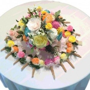 Customizable Bridal party bouquets in pink, yellow, orange and teal handmade paper Peonies and Roses, Wedding party bouquet, Paper Bouquets