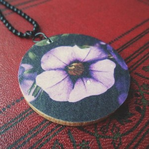 Purple Flower / Garden / Dewy Morning / Wooden Pendant / Ball Chain / Digital Art Necklace