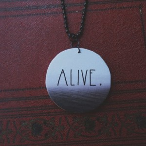 Alive / Wooden Pendant / Ball Chain / Digital Art Necklace