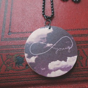 Forever Young / Cloudy Skies / Infinity / Wooden Pendant / Ball Chain / Digital Art Necklace