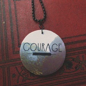 Courage / Forest / Arrows / Hipster / Wooden Pendant / Ball Chain / Digital Art Necklace