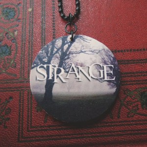 Strange / Woods / Forest / Hipster / Goth / Spooky / Wooden Pendant / Ball Chain / Digital Art Pendant