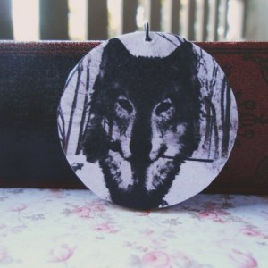 The Wolf and the Rose / Wooden Pendant / Ball Chain / Digital Art Pendant