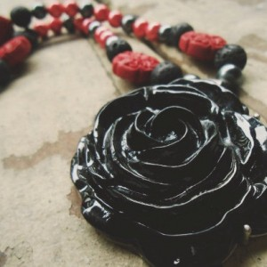 The Rose / Gothic Lolita /  Cinnabar / Metal Pearl / Lavastone / OOAK / Beaded Necklace