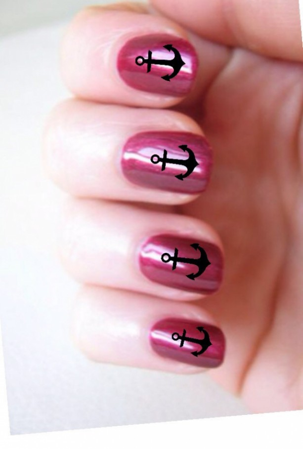 Anchor Nail Decals 20 per sheet or you can also choose 30,40 or 50- Nail Art, Nail Decals, Nail stickers, Nail Stencils