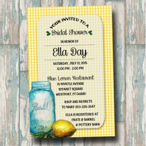 Custom Lemon Mason Jar Bridal Shower Invitation -Wedding Shower - Lemon Bridal Shower - Mason Jar Bridal Shower