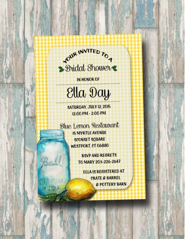 Custom Lemon Mason Jar Bridal Shower Invitation Wedding Shower