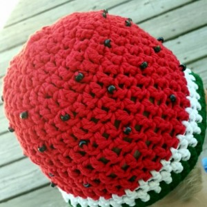 Watermelon cotton crochet hat - ruffle or band - unisex boy girl child kid - sizes baby toddler teen adult red or pink With black bead seeds