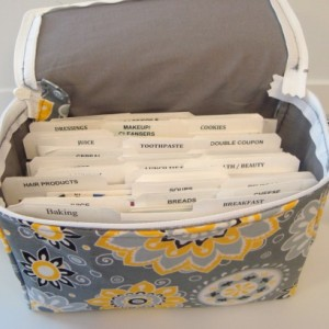 Super Size 4 inch  Coupon Organizer Holder with Zipper Closer - Attaches to Your Cart-  Sunshine
