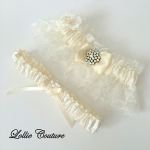 Lace Wedding Garters  Lingerie Romantic bride to be simple modern Silver Ivory Lace bridal Garters