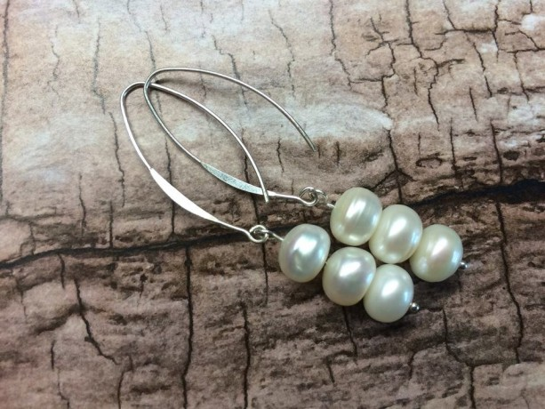 Long dangle sterling silver freshwater pearl earring, modern classy jewellery, gift for her, fancy white pearl jewelry, June birthstone gift